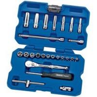 Coffret clef cliquet DRAPER Expert 25 pièces avec douilles métriques carré 1/4 petites dimensions (4 mm à 13 mm)