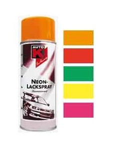 Peinture Auto K Effet fluorescent Neon coloris orange / rouge / vert / jaune / rose (Spray 400 ml)