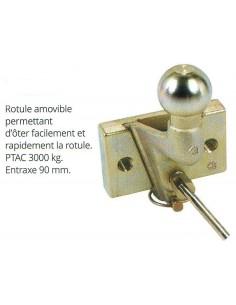 Rotule attelage ROTHOP amovible déverrouillable par goupille de sécurité fixation 2 boulons entraxe 90 mm
