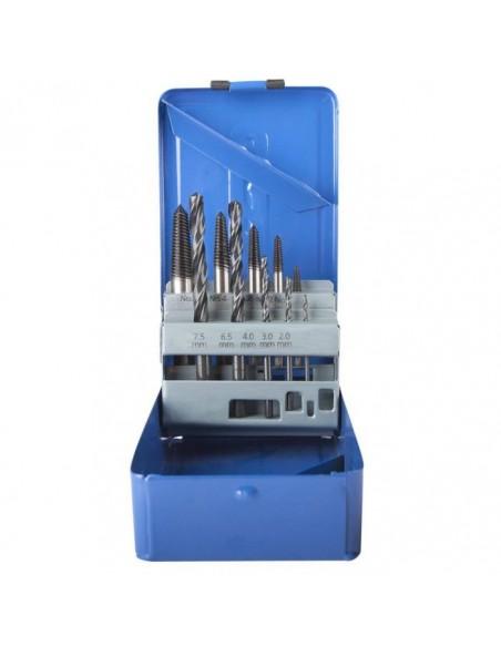 Forets HSS acier + extracteurs queues de cochon Boite 10 pièces diamètre 2 a 7.5 mm