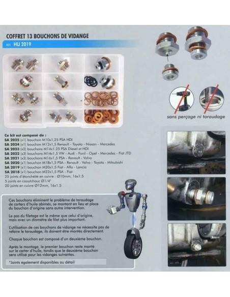 Réparation bouchon vidange (Coffret 13 bouchons références panachées)