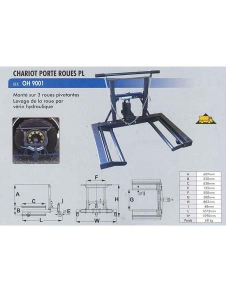 Chariot porte roues poids lourds (Charge maxi 650 kgs)