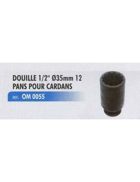 Douille 1/2 pouce diametre 35 mm 12 pans cardans