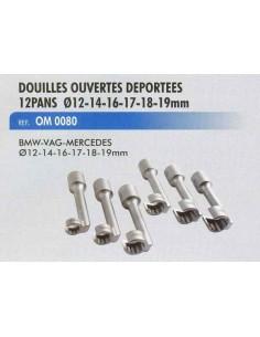 Douilles ouvertes deportees 12 pans diametre 12-14-16-17-18-19 mm BMW/MERCEDES/VAG