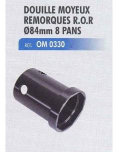 Douille moyeux remorques R.O.R diametre 84 mm 8 pans