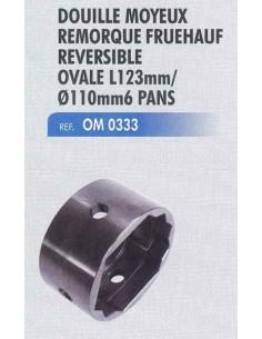 Douille moyeux remorque FRUHAUF reversible ovale 123 mm /diameTRE 110 MM 6 PANS