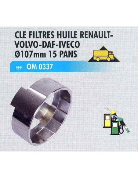 Clé filtre huile RENAULT/VOLVO/DAF/IVECO/SCANIA/CLAAS/DEMAG/CATERPILLAR/PERTRA 107 mm 15 pans