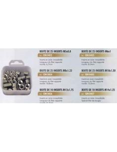 Boite de 25 inserts reparation traudage par filet acier inox rapportes M5x0.8