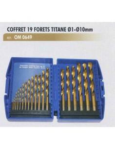 Coffret 19 forets titane diametre 1 a 10 mm