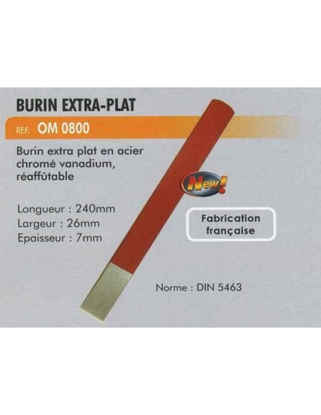Burin extra-plat acier chrome vanadium 240 mm