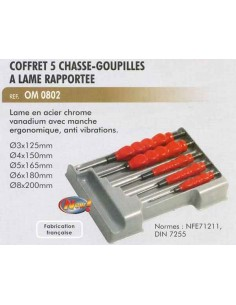 Coffret 5 chasse-goupilles a lame rapportee