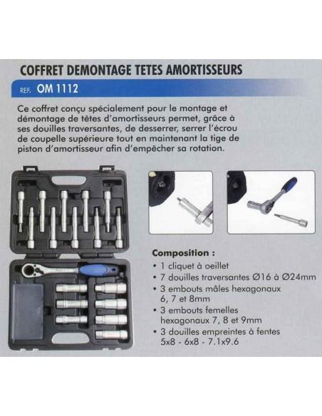 Coffret demontage de tetes amortisseurs avec douilles traversantes (18 pieces)