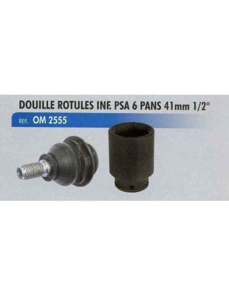 Douille 41 mm 6 pans 1/2 pouce démontage rotule de direction inférieure véhicules PSA