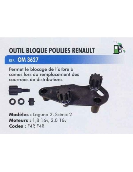 Outil bloque poulie distribution moteur RENAULT Clio II, Megane, Scenic, Laguna, Espace, Trafic II