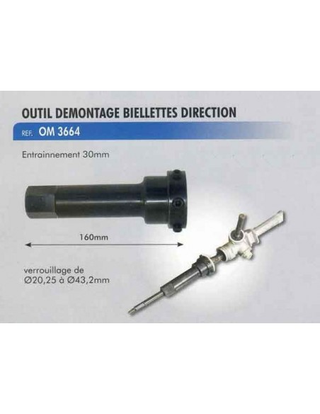 Outil demontage biellettes direction entrainement 20.25 a 43.2 mm. long 160 mm