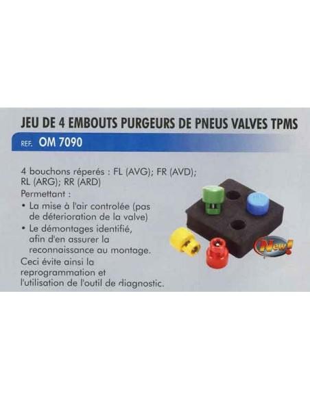 Embouts purgeurs de pneus valves tpms (4 pieces)