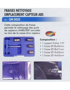 Fraises nettoyage emplacement capteur ABS/ESP (5 pieces 14/15/18 mm)