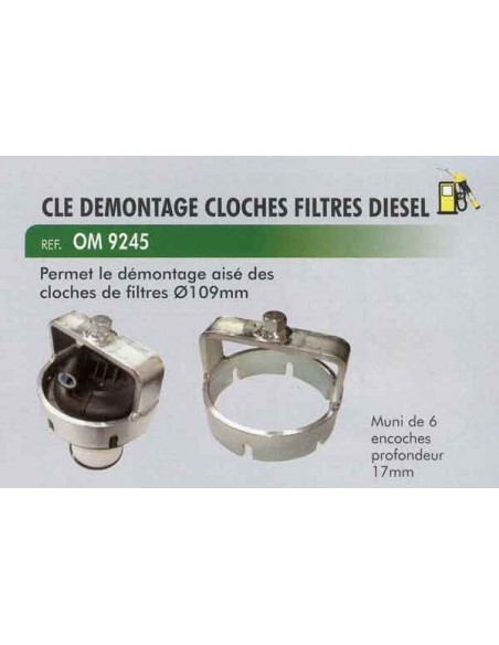 Cle demontage cloches filtres carburant diesel D 109mm