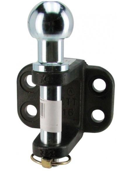 Crochet attelage mixte Boule verticale avec fixation 16 mm (4 trous)