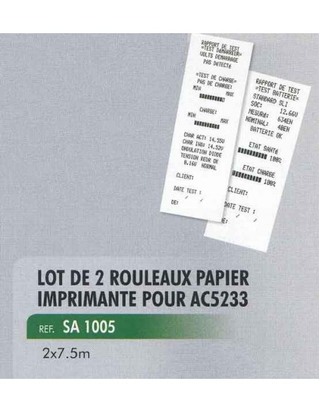 Rouleaux papier imprimante thermique 2 x 7.5 m testeur de charge batterie