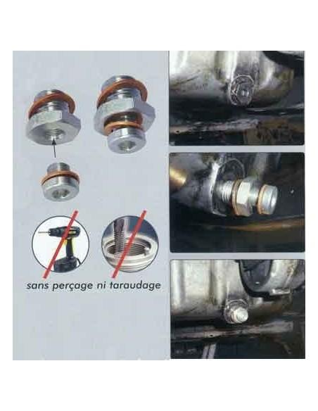 Reparation sans percage bouchon vidange carter huile moteur M10x1.25 PSA HDI