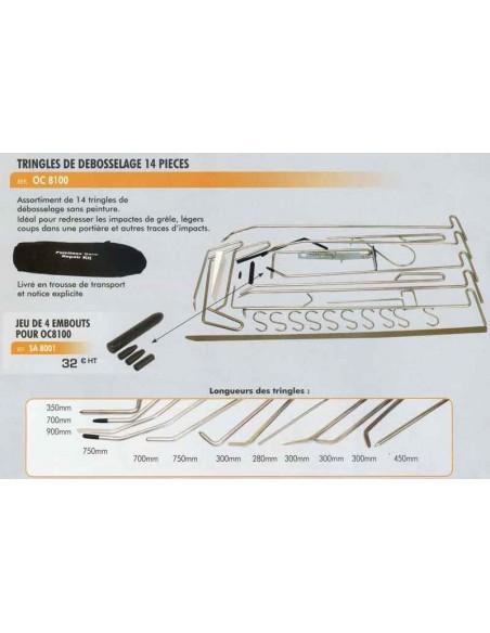 Embouts kit de tringles de debossage carrosserie CL-OC-8100 (4 pieces)