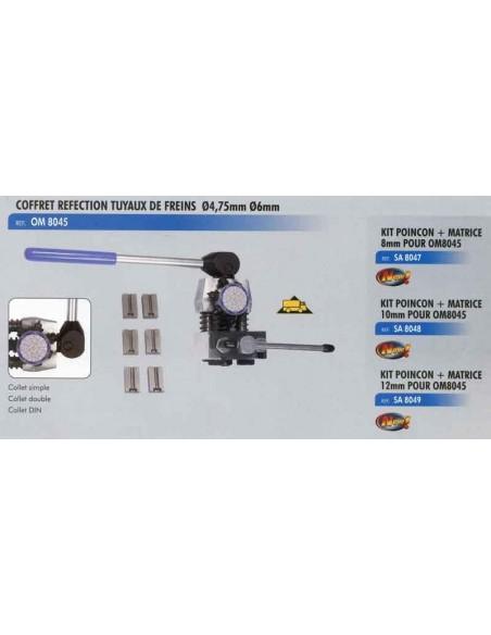 Kit poincon matrice 8 mm kit presse renovation tuyau frein rigide CL-OM-8045