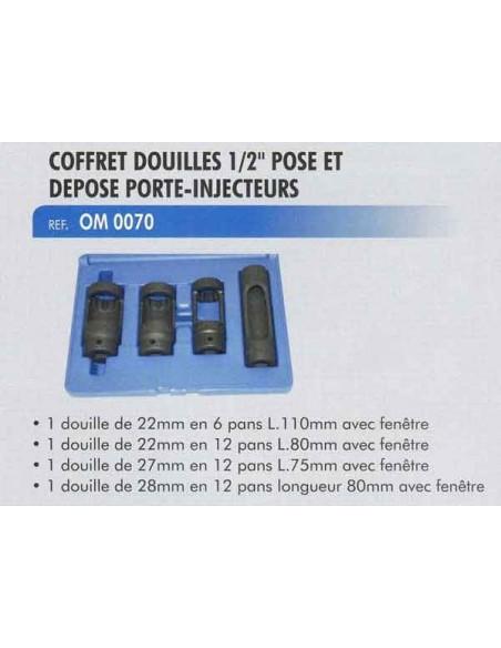 Douilles pose/depose porte injecteur carre 1/2 pouce (4 pieces 22/27/28 mm)