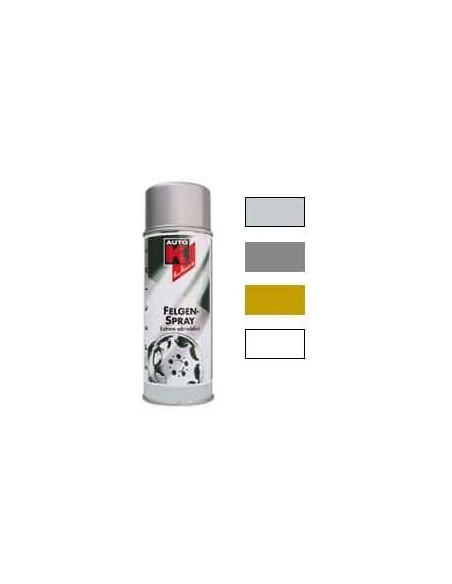 Peinture jantes automobiles coloris argent cristal / or / argent titane / vernis protecteur (Spray 400 ml)