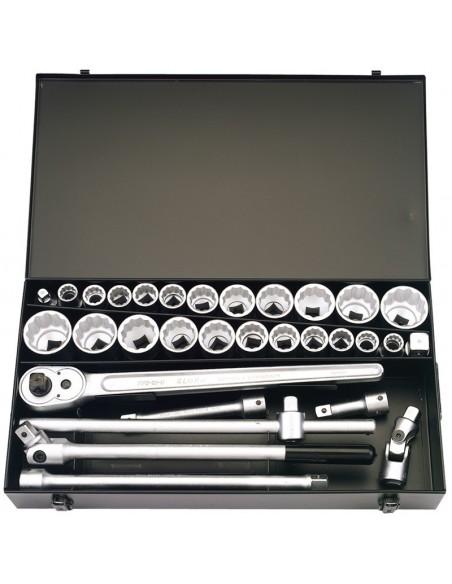 Coffret clef cliquet 31 pieces carré 3/4 metriques et impériales (Anglaises) grandes dimensions 19 a 50 mm