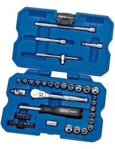Coffret clef cliquet DRAPER Expert 26 pièces douilles métriques et impérial (anglaises) courtes carré 3/4 (22 à 46 mm)
