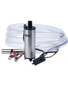 Pompe de transfert liquides type eau / Gazoil (Alimentation 12 V par pince crocodile sur batterie auto / Camion)
